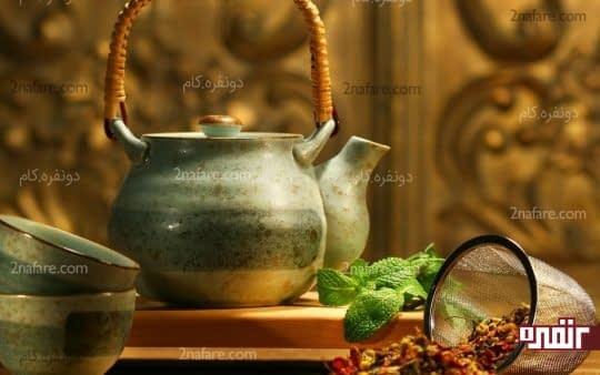 چای گیاهی درمان خانگی مسمومیت غذایی