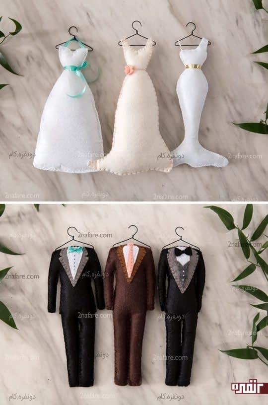 آویز تزیینی عروس و داماد نمدی