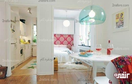 اتاق خوابی زیبا در کنار اتاق نشیمن و آشپزخانه در سوییت های کوچک