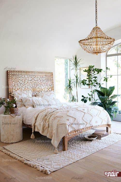 اتاق خواب روشن و پرنور به سبک کولی وار