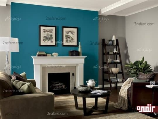 تغییر رنگ یکی از دیوارها در اتاق نشیمن