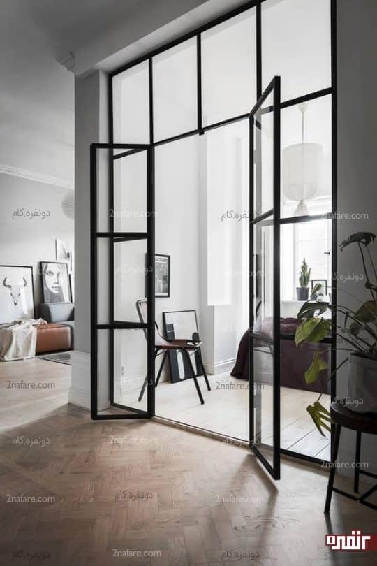 جداسازی فضاهای داخلی با درب های شیشه ای زیبا