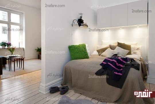 جداسازی فضای اتاق خواب و اتاق نشیمن با دیوار