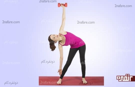 حرکت کششی به پهلو با کمک دمبل