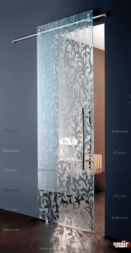 درب کشویی با شیشه ی طرحدار