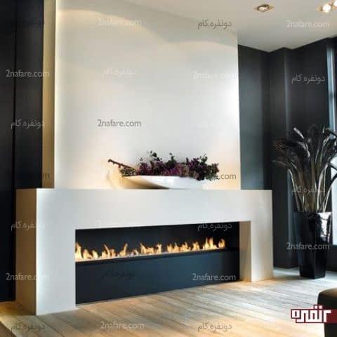 شومینه ای مدرن و بسیار زیبا در دکوراسیون اتاق نشیمن