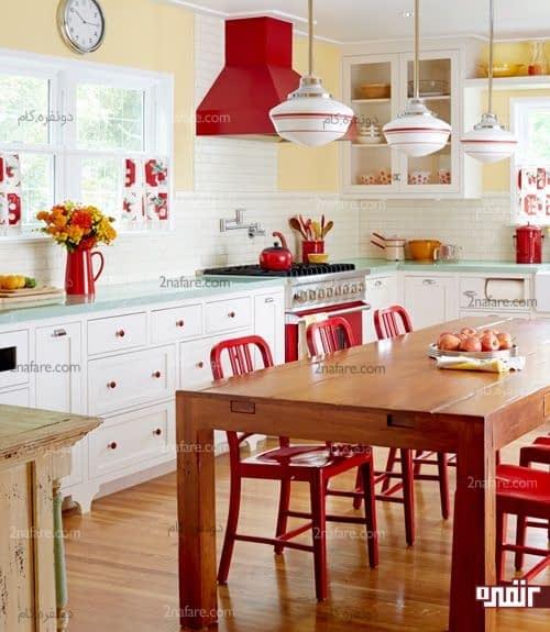 قرمز رنگی جذاب و متفاوت برای آشپزخانه