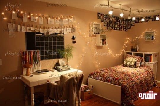لامپ های رشته ای و چراغ های سقفی برای تامین نور اتاق خواب