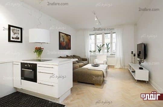 مبلمان راحت و جادار در اتاق نشیمن سوییت 46 متری