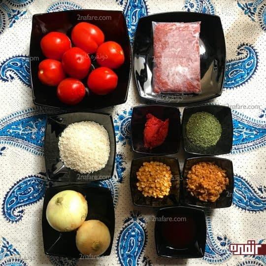 مواد لازم برای تهیه دلمه گوجه فرنگی