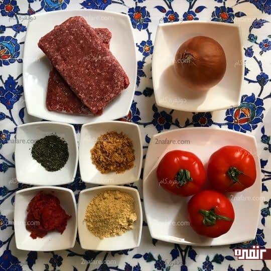 مواد لازم برای تهیه میت بال با سس گوجه فرنگی