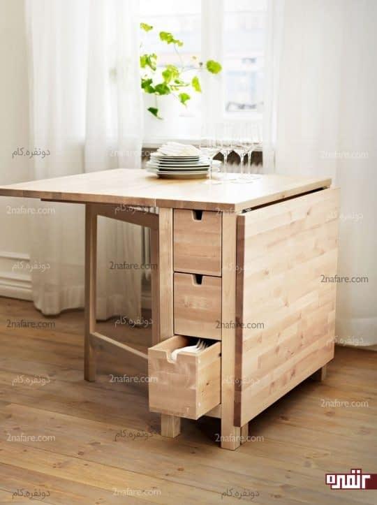 میز زیبای چوبی تاشو با کشوهای ذخیره سازی لوازم