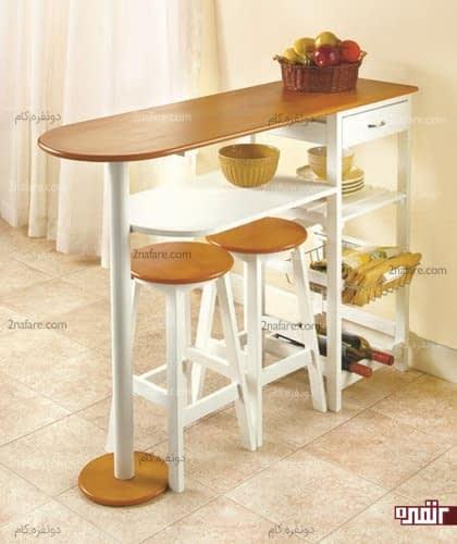 میز صبحانه خوری چوبی با کشو و فضای نگهداری لوازم