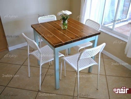 میز صبحانه خوری 4 نفره با صندلی های ظریف و زیبا