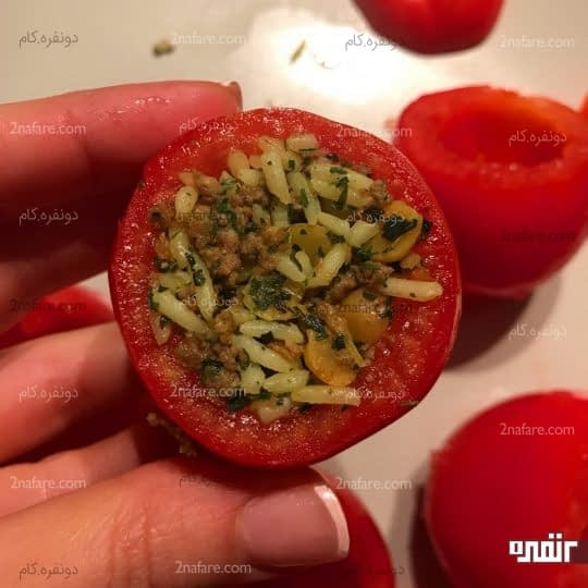 پر کردن داخل گوجه