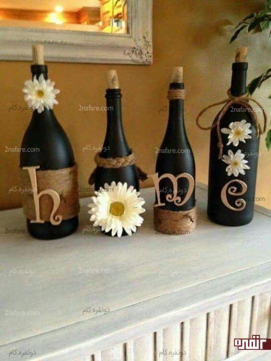 گلدان های زیبا با شیشه های بازیافتی