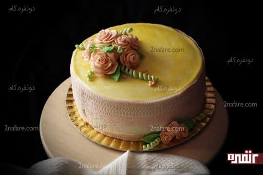 تزئین کیک با گل رز فوندانتی