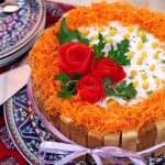 کیک سالاد الویه به همراه تزئین مجلسی مرحله به مرحله