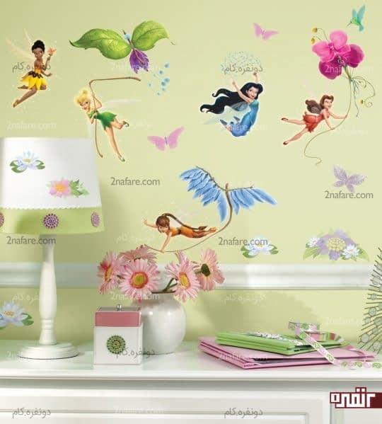 اتاقی دخترانه و زیبا با طرح شخصیت های کارتونی