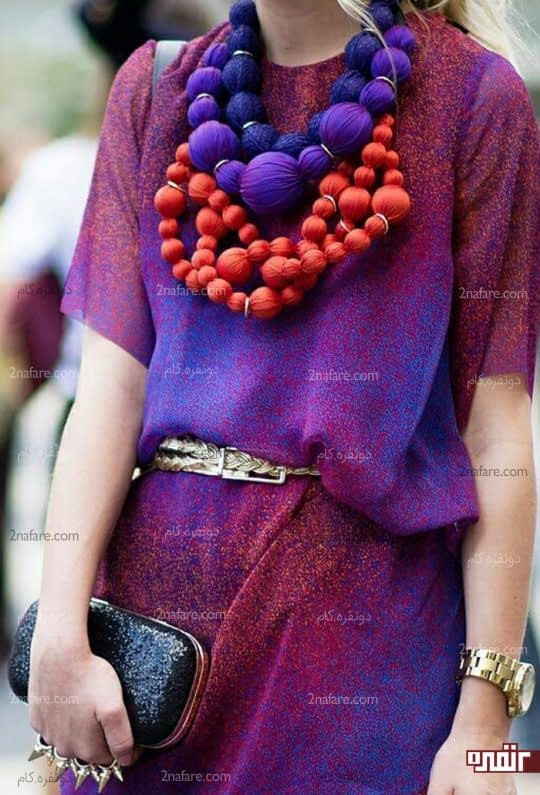 ترکیب رنگ آبی و بنفش توی لباس