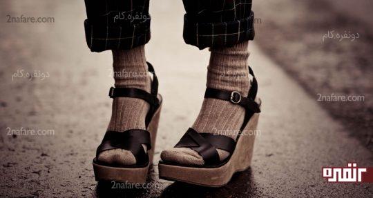 جوراب با کفش جلوباز