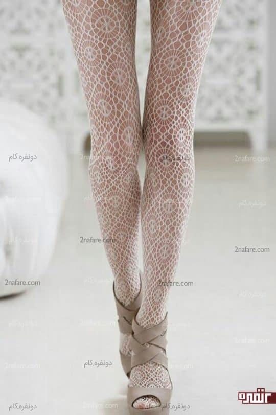 جوراب شلواری طرح دار سفید