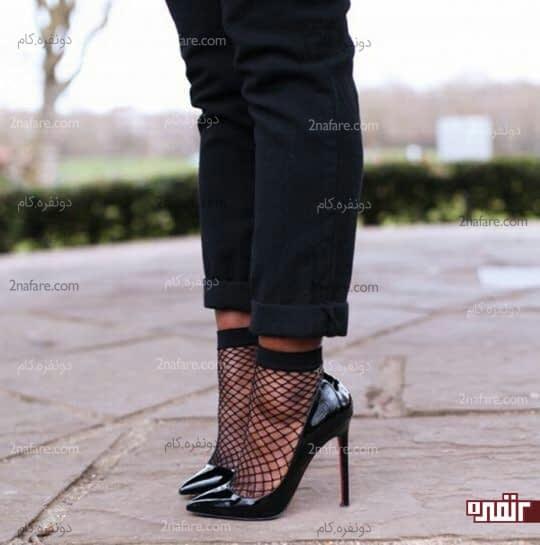 جوراب لانه زنبوری با کفش پاشنه دار