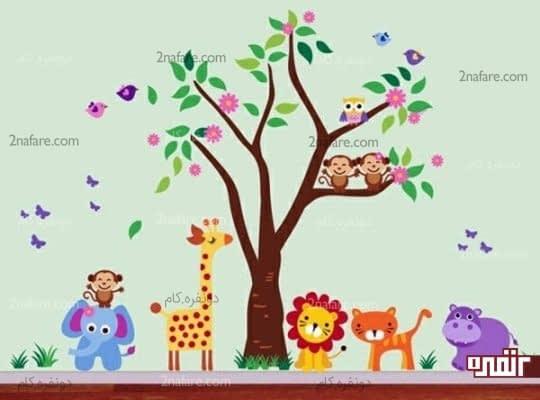 حیوانات بازیگوش، طرحی زیبا و جذاب برای اتاق کودکان