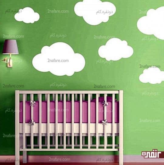 رنگ آمیزی اتاق کودک با رنگ سبز و ابرهای سفید