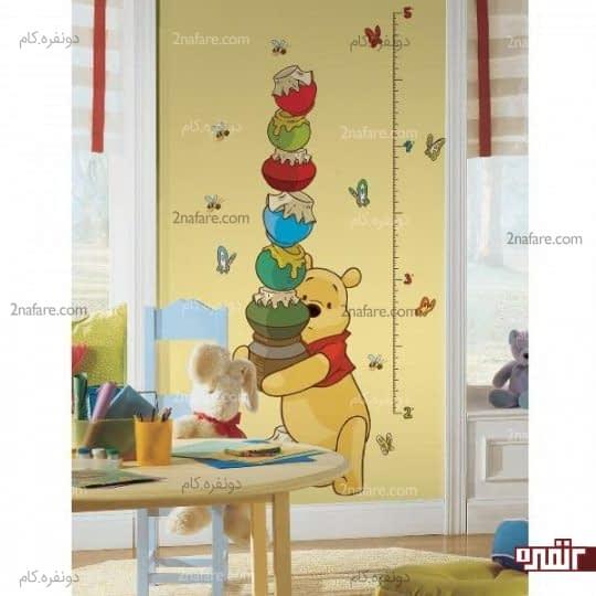طراحی شخصیت های کارتونی برای رسم نشانگر قد و تزیین دیوار اتاق کودک