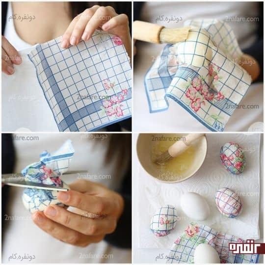 مراحل تزیین تخم مرغ با دستمال کاغذی