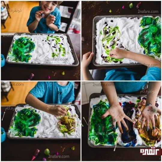 مراحل رنگ کردن تخم مرغ با استفاده از فوم اصلاح