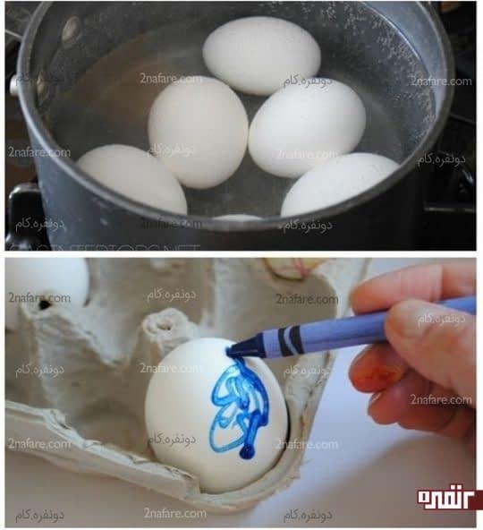 مراحل رنگ کردن تخم مرغ با مداد شمعی