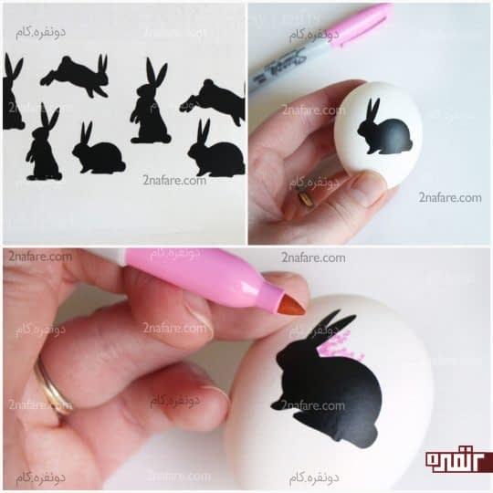 مراحل رنگ کردن تخم مرغ به کمک برچسب