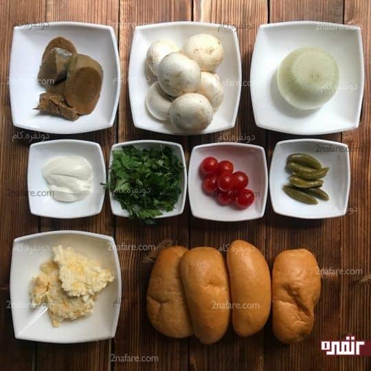 مواد لازم برای تهیه ساندویچ زبان