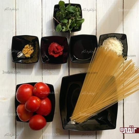 مواد لازم برای تهیه پاستا با سس گوجه فرنگی