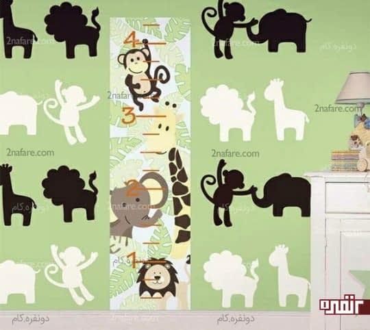 نقاشی جذاب دیواری با طرح حیوانات در اتاق کودک