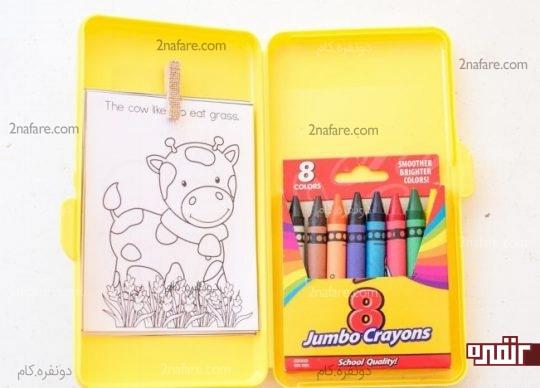 چسباندن بسته مداد شعمی ها به جعبه