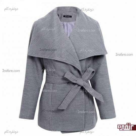 ژاکت با یقه پهن و کمربند مناسب اندام مستطیلی