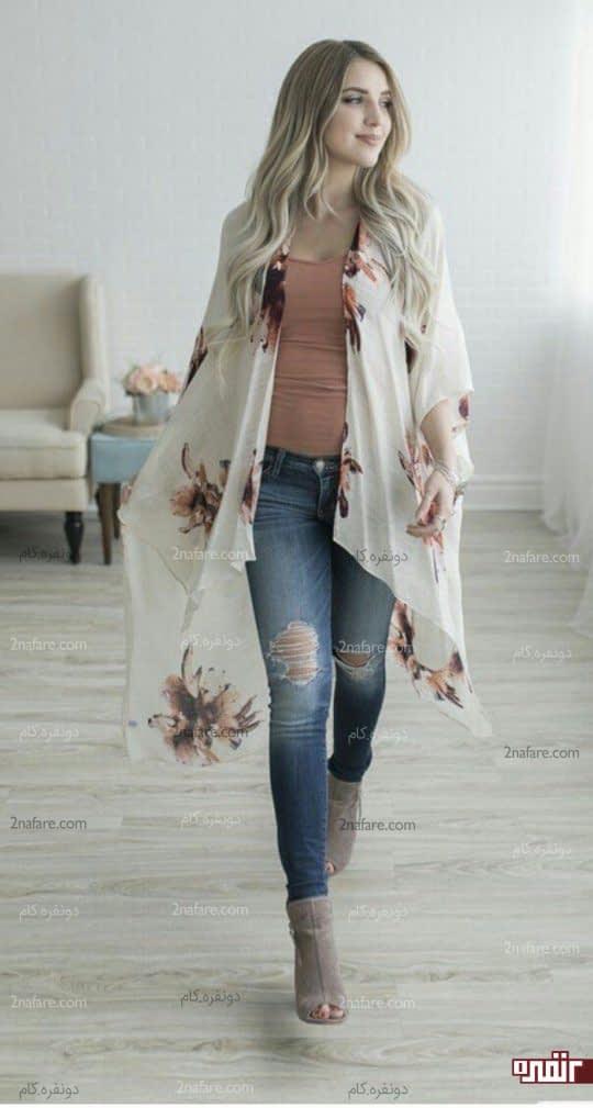 ژاکت بلند گلدار