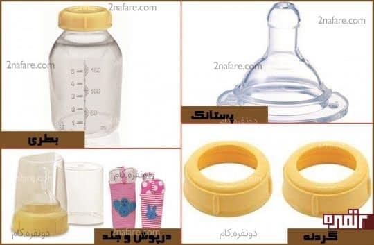 اجزای بطری شیر بچه