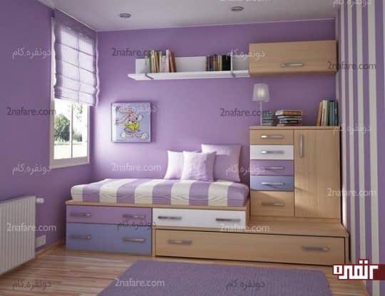 اتاقی آرام و دلنشین با استفاده از رنگ یاسی