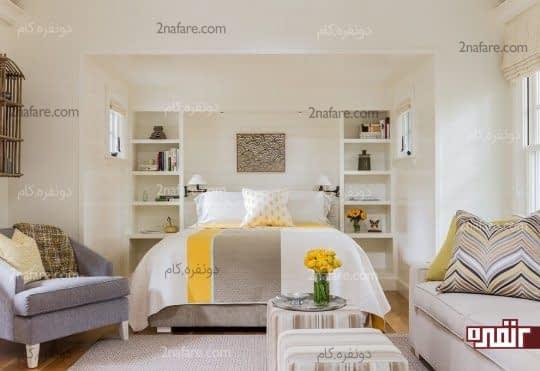 تزیین بالای تخت با قفسه بندی باز