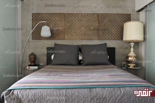 دکور بالای تخت با استفاده از پانل های مشبک فلزی