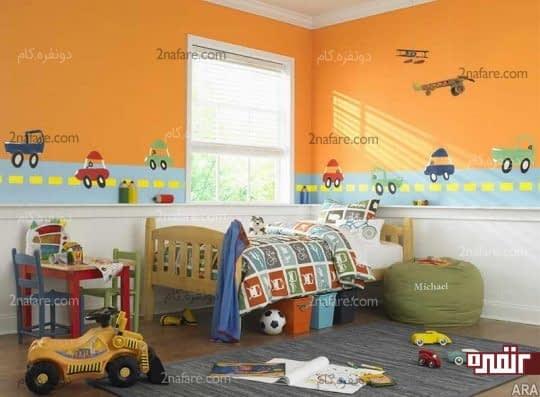 رنگ نارنجی برای ایجاد اتاقی پر از هیجان