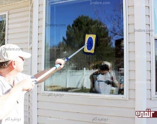 شستن پنجره با محلول