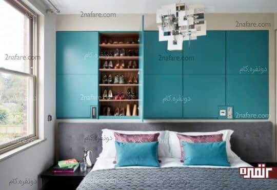 طراحی کمد دیواری بالای تخت خواب