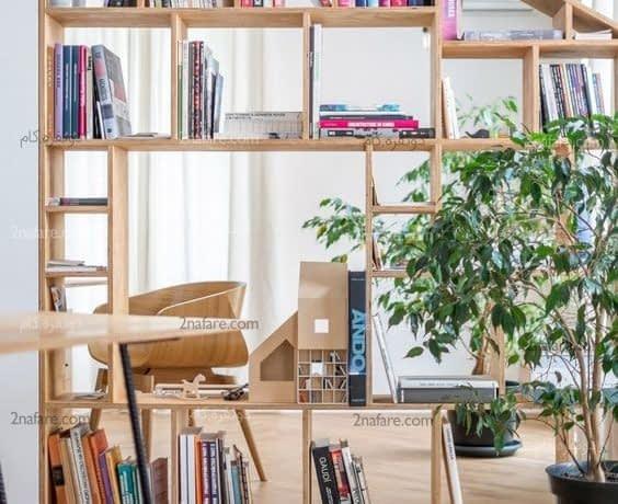 کتابخانه ای زیبا برای جدا کردن فضاها و قرار دادن کتاب ها