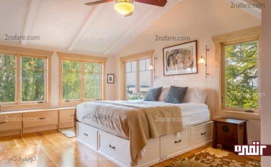 کشوهای زیر تخت خواب فضایی عالی برای مرتب کردن وسیله ها