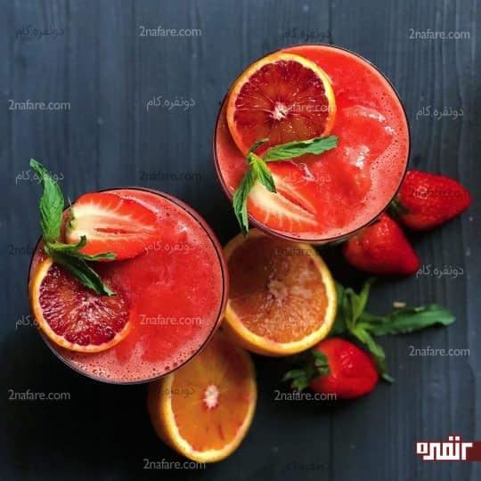 اسموتی پرتقال و توت فرنگی